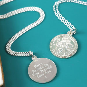 Personalised Sterling Silver St Christopher Necklace - necklaces & pendants