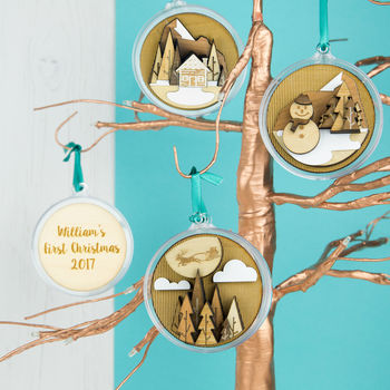 Personalised 3D Wooden Baubles