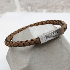 Men's Personalised Plaited Suede Leather Bracelet - personalised jewellery
