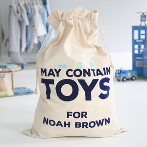 Personalised 'May Contain Toys' Sack Boys - storage bags