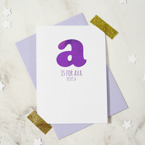 Personalised New Baby Alphabet Card - new baby & christening cards