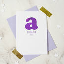 Personalised New Baby Alphabet Card