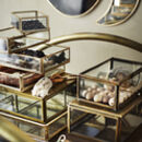 Assorted Glass And Brass Storage Trays
