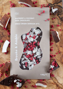 Brooke And Amble Raspberry And Coconut Dark Chocolate - chocolates & confectionery