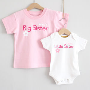 Personalised 'Sister' T Shirt And Baby Grow - clothing