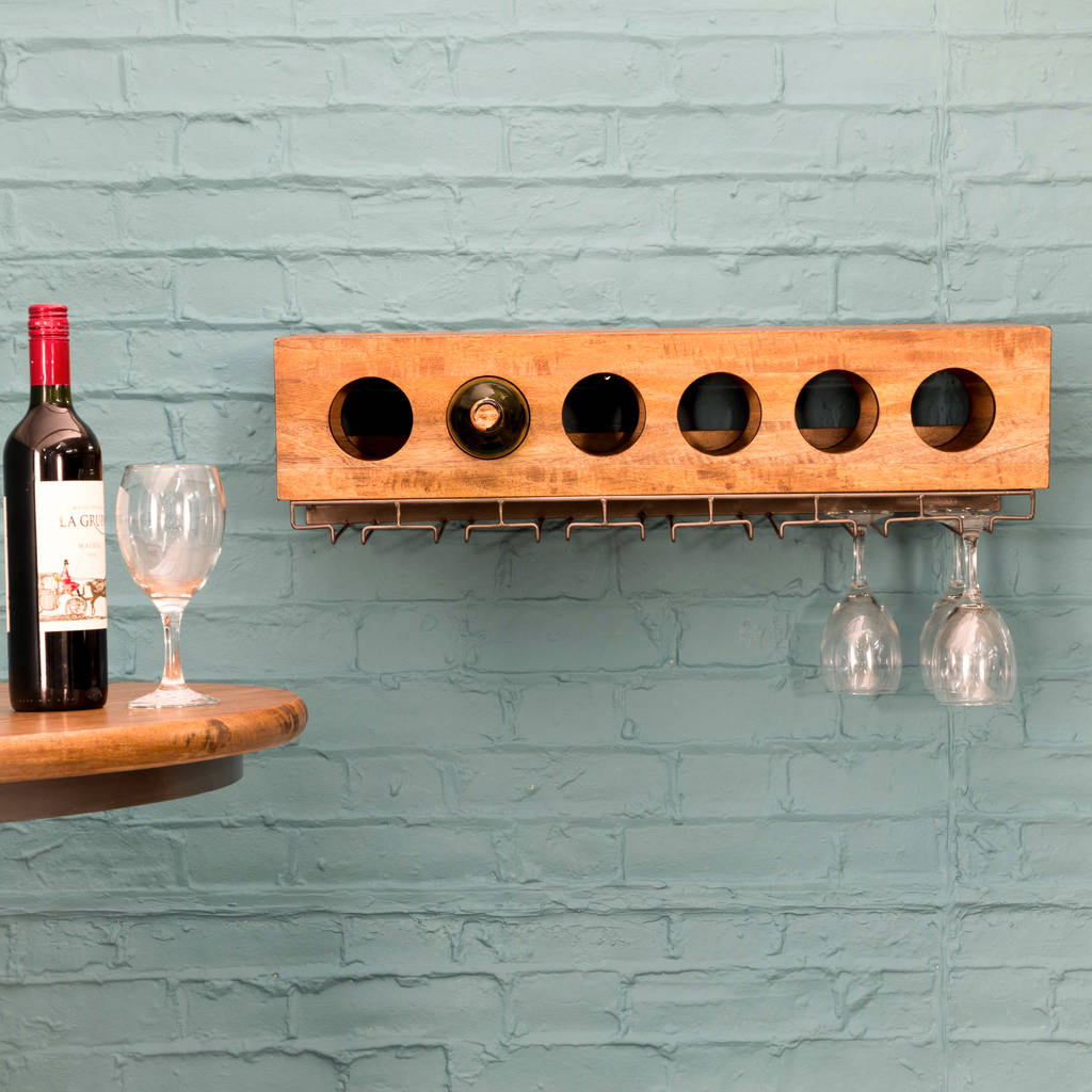Vintage Wall Mounted Wine Rack
