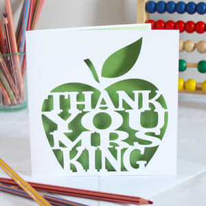 Personalised Teacher's Apple Card - thank you cards