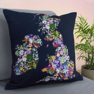 Personalised Map Couples Sofa Cushion In Floral Design