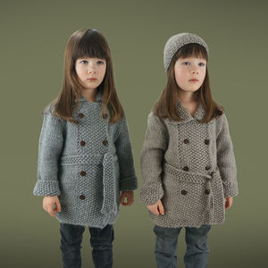 Girls Handmade Double Moss Coat - clothing