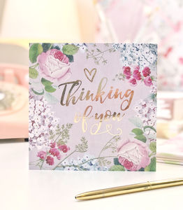 Thinking Of You Botanical And Gold Greeting Card