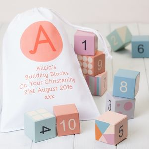 Pastel Wooden Building Blocks In A Personalised Bag - baby toys