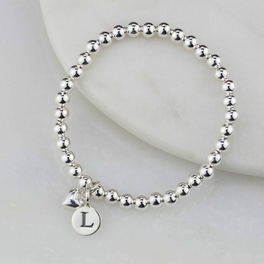 Personalised Child S Bracelet With Silver Heart Charm