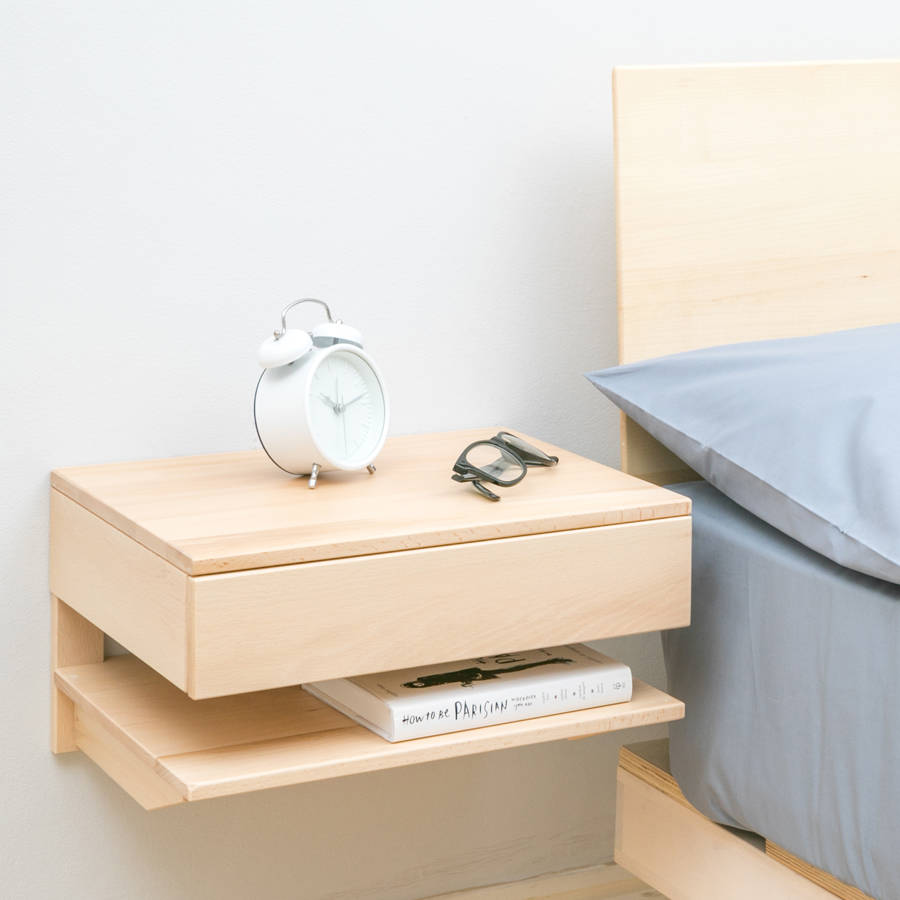 Floating Bedside Table With Drawer And Shelf.  floatingbedsidetablegreysmall. floatingbedsidetablenaturallarge.  floatingbedsidetableblacksmall