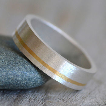 Wedding Band With 24ct Yellow Gold Inlay