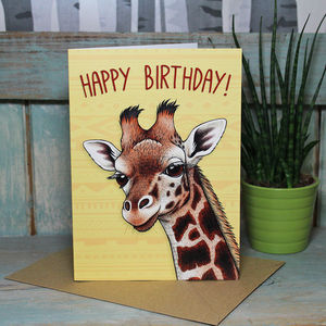 Giraffe Happy Birthday Card - birthday cards