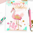 Personalised Children's Birthday Card 'Flamingo!'