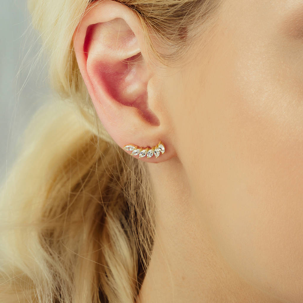 Gold Plated Crystal Paved Icarus Wing Ear Studs By Attic