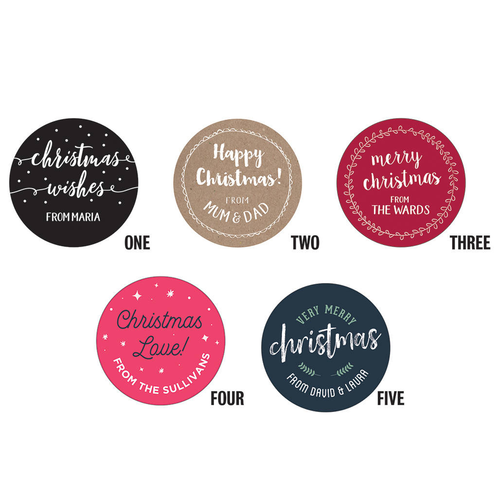 Personalised round christmas stickers 40mm