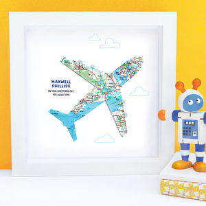 Personalised Baby Boy Map Aeroplane Gift - pictures & prints for children
