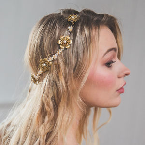 Aubrey Brass Flower Pearl Bridal Headpiece - bridal hairpieces