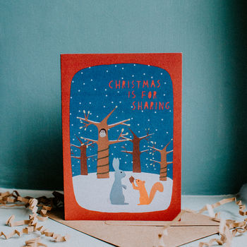 Rabbit And Squirrel Christmas Festive Cards