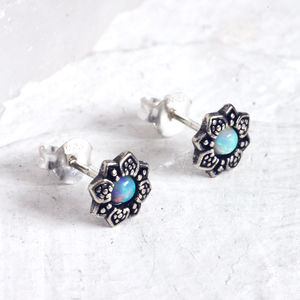 Lara Sterling Silver Flower White Opal Stud Earrings
