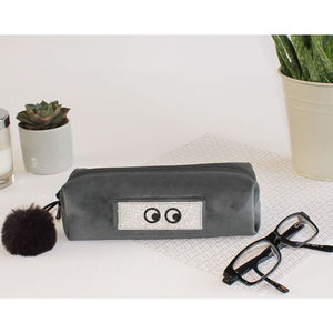 Customised Grey Velvet Small Case - writing