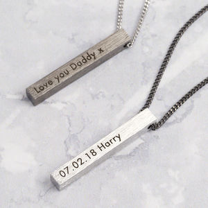 Men's Personalised Brushed Bar Necklace - necklaces