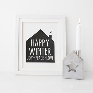 Happy Winter Home Monochrome Print