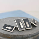 Geometric black and silver cufflinks