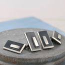 Geometric black and silver cufflinks