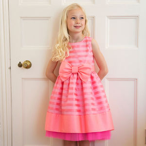 Pink Organza Bow Flower Girl Occasion Party Dress - flower girl dresses