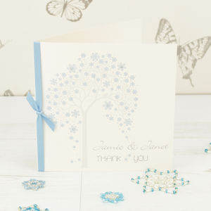 10 Personalised Winter Tree Thank You Cards