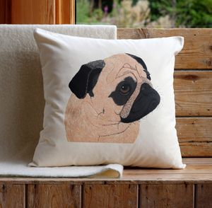 Pug Cushion Cover With Inner Option