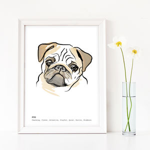 Personalised Pug Art Print - art