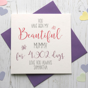 No Of Days Being My 'Beautiful' Mum/Mummy Card - mother's day cards