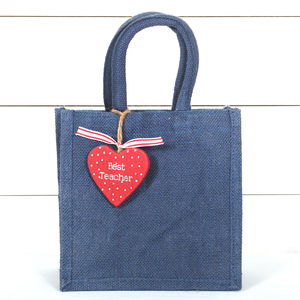 Best Teacher Tag And Jute Bag