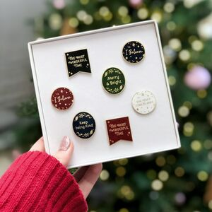 A Box Of Christmas Enamel Pin Badges