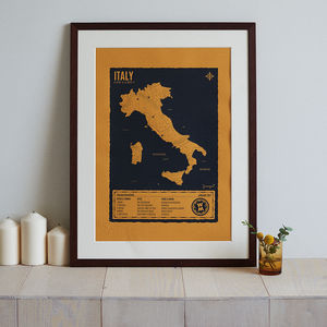 Personalised Map Of Your Travel Adventures Screen Print - for him