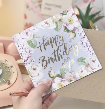 Happy Birthday Botanical And Gold Greeting Card