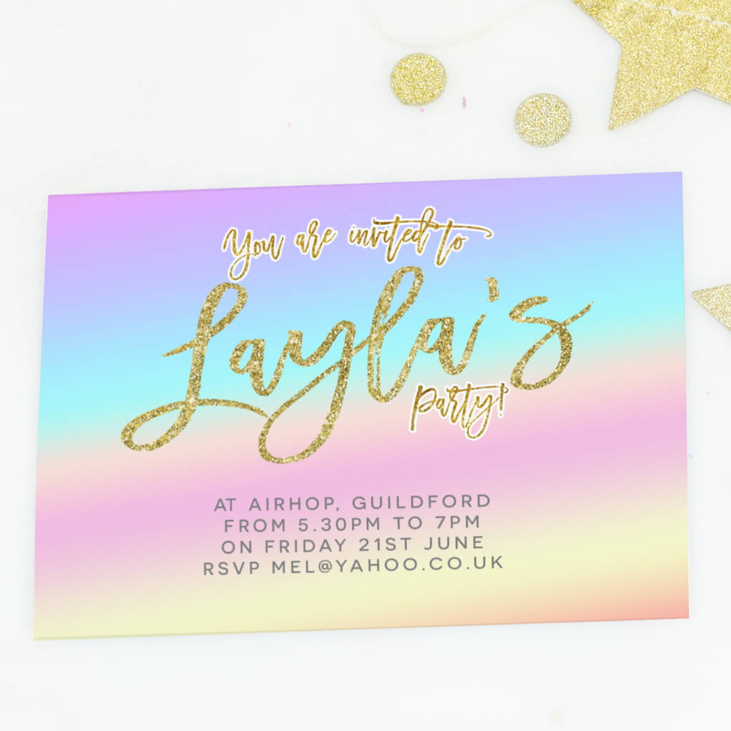 Rainbow Gradient Birthday Party Invites