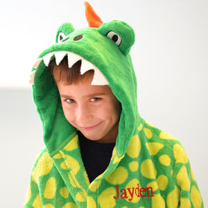 Personalised Soft Dinosaur Green Dressing Gown - clothing