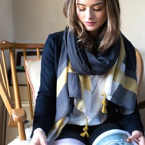 Personalised Charcoal To Mustard Scarf - gifts for teachers