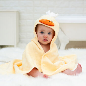 Personalised Cuddly Duck Baby Towel