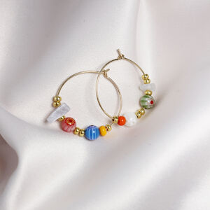 Libby Beaded And Gemstone Hoops