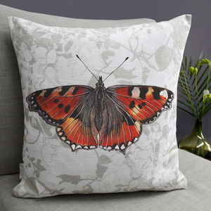 Red Admiral Butterfly Print Cushion - cushions