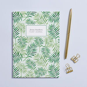 Personalised 'Palm Leaves' A5 Notebook - greenery