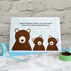 'Daddy Bear' Personalised Birthday Card From Children - birthday cards