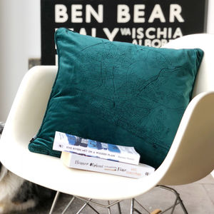 Velvet Personalised Map Cushion - 60th birthday gifts