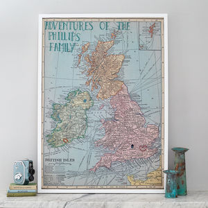 Personalised UK And Ireland Map Notice Board - textile art